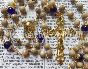 African Opal gemstone bead and Cobalt Czech glass bead rosary with gold plated rectangle Mary center and crucifix