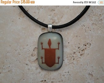 Christmas in July Sale Petroglyph Turtle Fused Glass Pendant - BHS01389