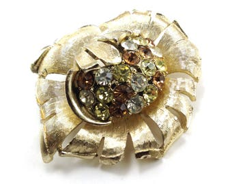 Coro Flower Brooch Rhinestone Brushed Satin Tone Gold Tone Vintage Figural Jewelry Designer Signed Collectible Costume Jewelry