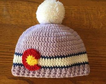 Lavender Colorado Flag Beanie Hat with Pom Pom ~ Birth-24 months