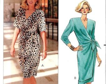 Butterick 4914 Misses Mock Wrap Dress pattern, 8-12 & 14-18,  UNCUT