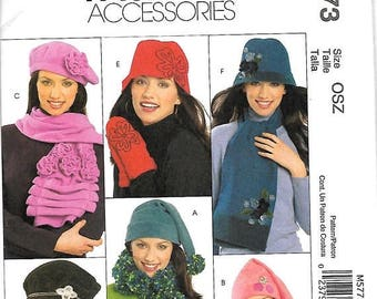 ON SALE McCall's 5773 Misses Hats, Scarves And mittens Sewing Pattern, UNCUT