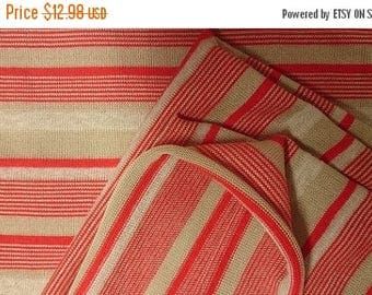 """ON SALE 1 Yd + 30"""" x 58"""" Wide Very Lightweight Sweater Knit Fabric, Tan, Red And White"""