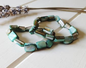 Greta - Mint Green Shell Stretchy Bracelet Set, Ready to Ship