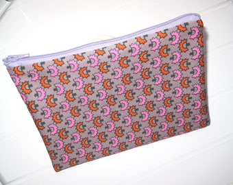grey and pink Pouch Makeup organizer Cosmetic case