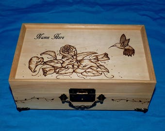 Personalized Jewelry Box Wood Burned Jewelry Holder Hummingbird Roses Engraved Jewelry Organizer Rustic Wood Gift Anniversary Gift