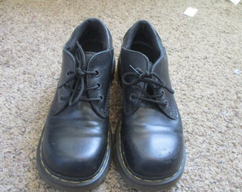 Dr Doc Martens Black Leather Lace-up Oxfords Shoes Womens US 9