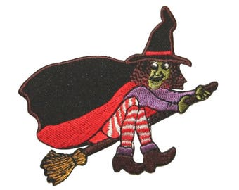 ID 0899 Wicked Witch Flying Broomstick Patch Evil Embroidered Iron On Applique
