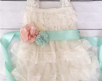 Lace flower girl dress-rustic flower girl dress-baby girl dress-mint and peach flower girl-country flower girl dress-ivory lace dress