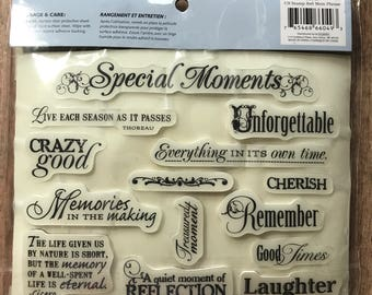 Cloud9 Design, Rubber Cling Stamps Memory PHRASE, 66049, Special Moments, Memories 14 Stamps, Sentiment Stamps, Laughter, Cherish, Remember