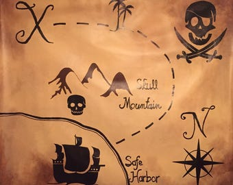 Pirate Room Decor - Pirate Decor- Pirate Mural - Pirate Party Supply - Treasure Map Mural - Pirate Treasure Map Mural - Treasure Map Decor