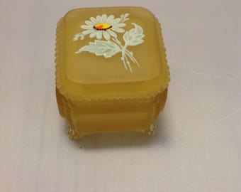Frosted Daisy glass trinket or jewelry box