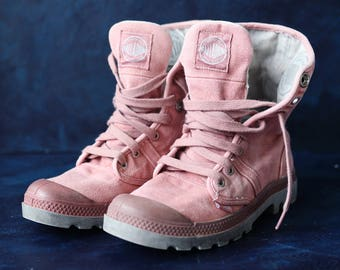 PALLADIUM vintage pink canvas women army style hiking combat ankle booties boots Size 37 6