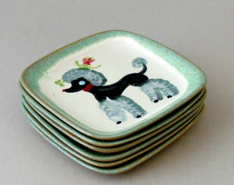 50s Glidden Pottery 6 POODLE CANAPE Plates OaK Hand Decorated Stoneware Signed 5x5 Parker Dsgn Alfred Retro Hollywood MCM Ex Cond Vintage