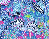 Multi Fantasy Garden cotton poplin 3 sizes. 6 X 6 inches  , 9 X 18 inches  or 18 X 18 inches ~Lilly Pulitzer 2018 New Print!