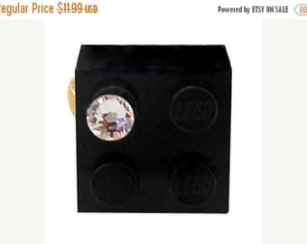 ON SALE Black LEGO (R) brick 2x2 with a Diamond color Swarovski crystal on a Silver/Gold plated adjustable ring finding