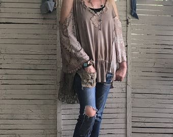 One Size or Plus Size Upcycled Top, Upcycled Clothing for Women, Artwear, Kaftan or Poncho, Tunic, Open Shoulders