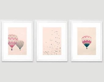 SALE, Hot air balloon nursery, girl nursery wall art girl nursery decor girl, pink purple, nursery canvas wall art canvas, nursery prints