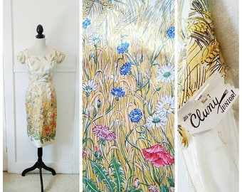 20% OFF / Through the Field 1950s Cream Wheat/Floral/Wildflower Print Silk Wiggle/Cocktail nDress