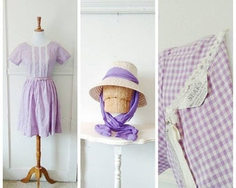 20% OFF / Atop Violet Hill 1950s Petite Purple and White Gingham Cotton Dress with Ric Rac/Lace Trim & Matching Hat