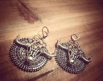 Small hoop earrings tribal silver boho chic ☥ Buffalo ☥