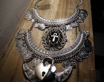 Cameo silver spike bib Cleopatra Egyptian ankh necklace