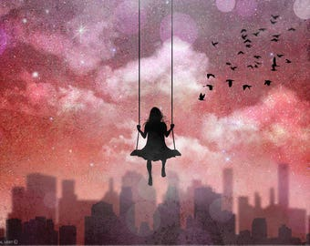 Girl Swinging on the moon,original artwork,poster,digital print,moon,girl,night,sky,art,city,night,new york,inspiration poster,original