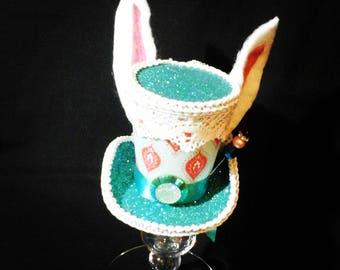 Alice in wonderland mini top hat costume piece White Rabbit