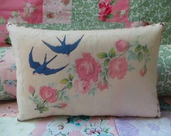 Vintage cards which have been hand printed onto fabric and made into decorative lavender filled pillows, birthday gift,  wedding gift