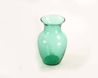 Vintage Aqua Green Glass Vase