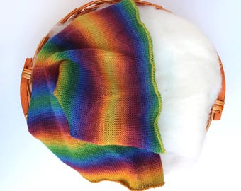 Rainbow Mini-blanket, Knit Rainbow Blanket Set, Layering Blanket, Newborn Photo Prop, Rainbow Baby Prop, Rainbow Wrap Wool Fluff Set