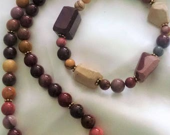 Necklace Bracelet Set Handmade Mookaite Semi Precious Gemstones 14KT Gold Filled Chunky Big Boho Chic  Gorgeous Color