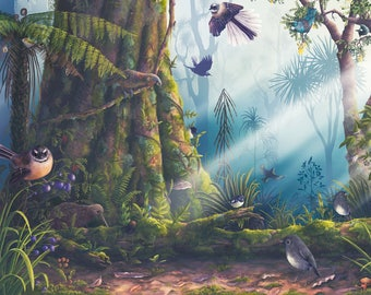New Zealand birds of the forest poster, Native New Zealand birds, Fantail art, Tui print, Kiwi art, Educational poster, Conservation print