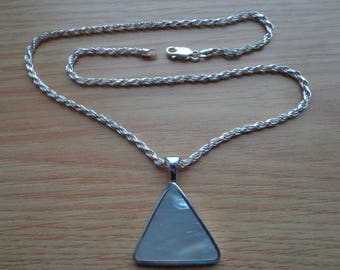 Mother of Pearl triangle pendant with chain.