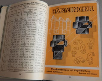 Mid century Baenninger fittings notebook German engineering book technical detail advertising gift book for engineer