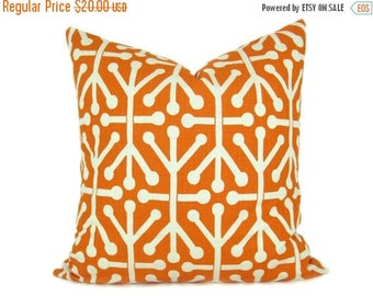 15% Off Sale ORANGE PILLOW  Decorative Throw Pillows ONE Orange and Cream Pillow 20x20 inch Pillow Covers 20 x 20 Pillow Printed fabric both