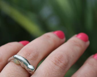 opal ring, organic ring, recycled silver, green ring, fire opal, modern ring, sterling silver, one of a kind