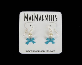 Turquoise Enamel Bow and Swarovski Pearl Petite Dangle Earrings