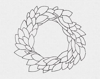 Farmhouse Wreath Rubber stamp for Scrapbooking, Journaling or Card Making (TW2)