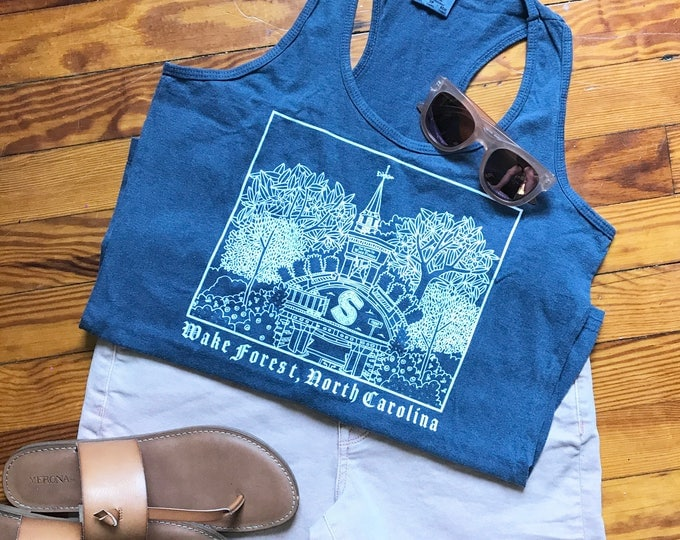 Downtown Seminary Veiw of Wake Forest North Carolina, Elle Karel Illustration Print on Comfort Colors Racerback Tank, 100% Cotton
