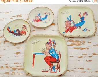 ON SALE Vintage 1958-1959 Tin Litho Toy Plates, Pony Tail, 4 Plates, 2 Round, 2 Square, Retro, Girl, Toy Dishes, 50s, Toy, Play Dishes, Chil