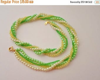ON SALE Vintage Japan 4 Strand Necklace, Mint Green, Lime Green, Ivory, Celedon, Swisted Strands, Small Strands, Two Of These Are Available,