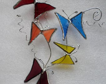 Butterflies, stained glass, suncatcher,wall hanging, gift idea.