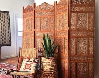 Vintage Hand Carved Wooden Screen 4 Panel Room Divider