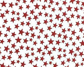 Red Stars on White - Patriotic Prints - Cotton Fabric - Galaxy -  PAT-01