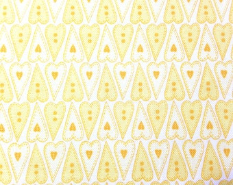 Yellow Heart Fabric - Basically Hugs - Cotton Fabric - Red Rooster Fabrics - HEART-04