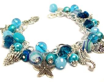 Ocean Charm Bracelet, Beach Charm Bracelet, Beach Jewelry, Aqua Blue Charm Bracelet, Nautical Charm Bracelet