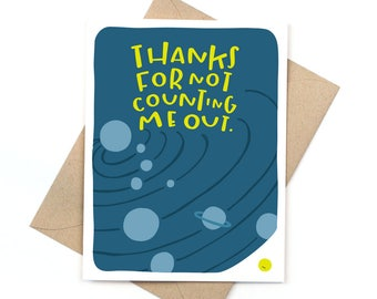 funny friendship card - thanks for not counting me out - pluto