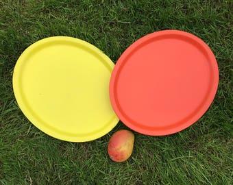 Two fab MCM vintage trays. Retro orange and fab yellow