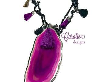 fuschia + fringe necklace